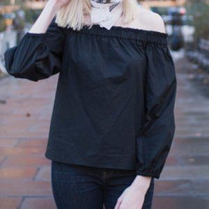 J.Crew classic off the shoulder long sleeve blouse